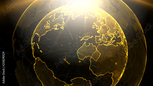 Fototapety, obrazy: Digital golden planet of Earth. 3D animation with digital Earth and particles. 3D illustration