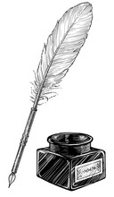 Feather Pen And Ink Bottle Ill...