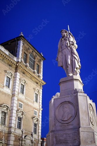 Photo  Modena, Emilia Romagna, Italy, Piazza Roma and Ciro menotti monument, Unesco wor