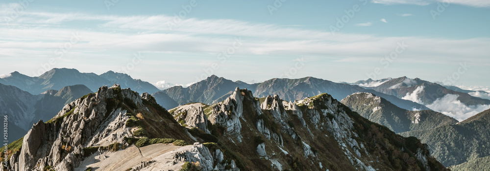 Fototapety, obrazy: Panoramic mountain scenery landscape of Tsubakuro mountain in Northern Japan Alps in Nagano, Japan. Adventure and mountaineering activity concept.