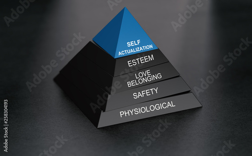 Psychology concept. Self-actualization and pyramid of needs Wallpaper Mural