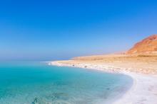 Salt On The Shore. Dead Sea. Jordan Landscape