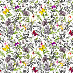 Fototapeta Florystyczny Seamless background - flowers, butterflies. Meadow floral pattern. Watercolor