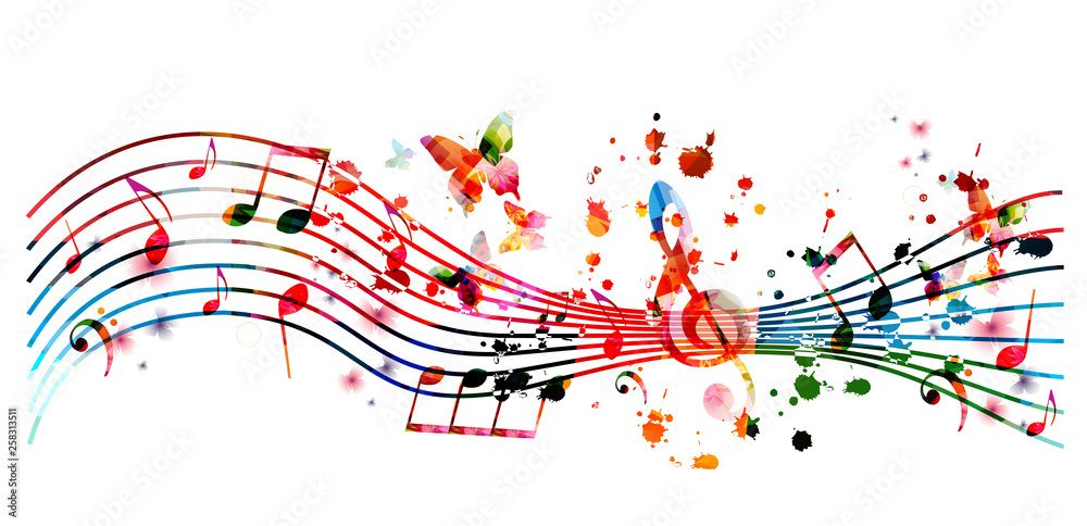 Fototapety, obrazy: Music background with colorful music notes vector illustration design. Artistic music festival poster, live concert events, party flyer, music notes signs and symbols