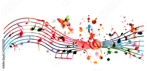 Music background with colorful music notes vector illustration design. Artistic music festival poster, live concert events, party flyer, music notes signs and symbols - 258313511