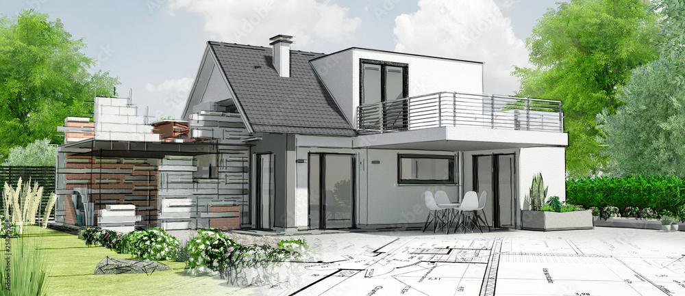 Fototapety, obrazy: Esquisse de maison par architecte