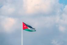 Flag Of Jordan On The Backgro...