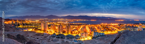 Panoramic aerial scenic view on the Eilat (Israel) and Aqaba (Jordan) cities and northern shore of the Aqaba gulf, Red Sea