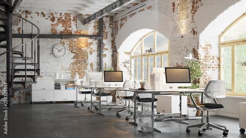 Office in old vintage brick Loft apartment 3d rendering © Christian Hillebrand