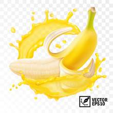 3d Realistic Transparenced Isolated Vector, Peeled Banana Fruit In A Splash Of Juice With Drops, Edible Handmade Mesh