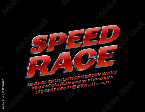 Fotografia Vector modern emblem Speed Race with Red and Silver Alphabet