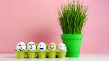 Easter Background Concept With Funny Easter Eggs And Green Grass
