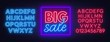 Big sale neon sign on brick wall background. Neon fonts. Vector illustration