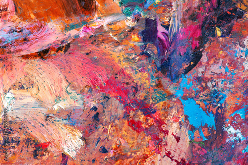 Closeup Beautiful colorful Abstract painting On palette