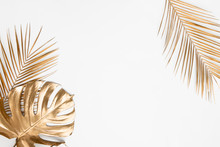 Golden Tropical Leaves On White Background