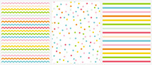 Cute Multicolor Geometric Seamless Vector Patterns. Pink, Blue, Yellow And Green Polka Dots, Tiny Chevron And Vertical Stripes On A White Background. Lovely Vivid Colors Infantile Repeatable Design.