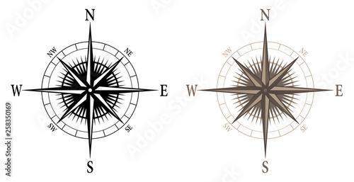 Photo Compass, isolated vector illustration in both black and color versions