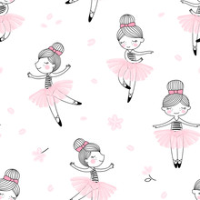 Cute Dancing Ballerina Girls Pattern. Ballet Themed Seamless Background. Simple Cute Girlish Surface Design. Perfect For Girl Fashion Fabric Textile, Scrap Booking, Wrapping Gift Paper.