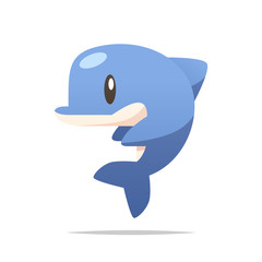 Fototapeta Delfin Cartoon dolphin vector isolated illustration
