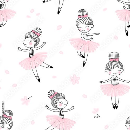 Foto Cute dancing ballerina girls pattern