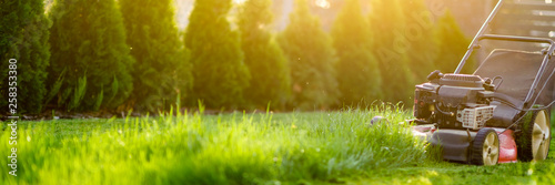 Photo sur Toile Herbe Lawn mower cutting green grass in sunlight