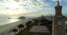 Daytona Beach Clock At Sunset, Aerial Drone