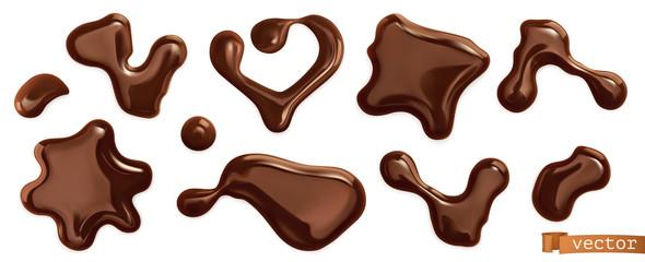 Chocolate drops. 3d realistic vector set