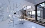 Fototapeta Natura - Design mockup in white and color of luxury house