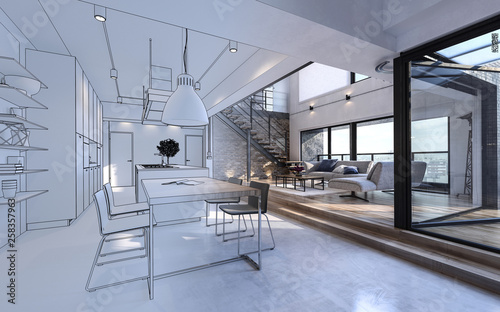 Poster Airport Design mockup in white and color of luxury house