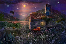 Fairy Stone House With Nests On Roof And Pond With Frogs In Magical Forest Of Starry Night With Bright Moon In Sky.