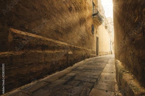 Fototapeten Schmale Gasse Narrow street in the medieval historic city of Mdina, Malta