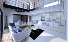 Comfortable Living Room Open Plan To Kitchen