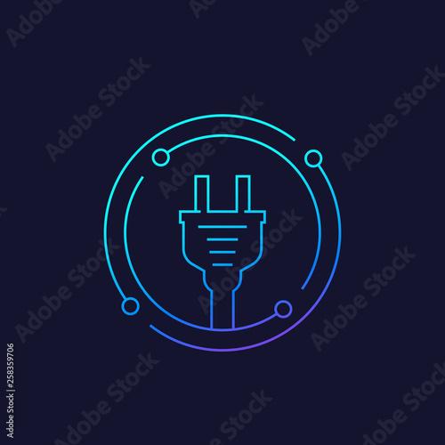 Slika na platnu electricity icon with electric plug, linear vector