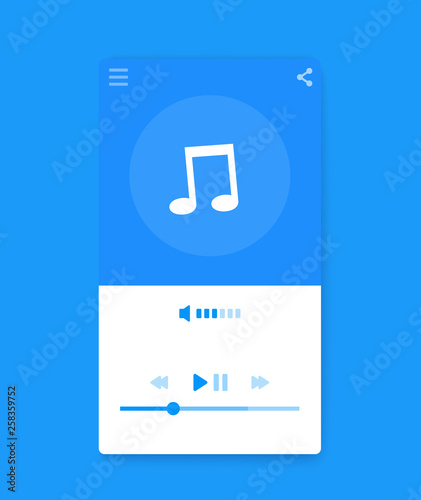 Stampa su Tela Music streaming player interface, mobile ui, vector
