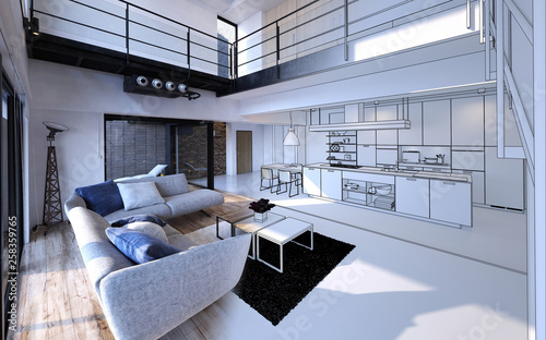 Comfortable living room open plan to kitchen Fototapeta