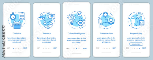 Fotografía  Employee soft skills onboarding mobile app page screen vector te