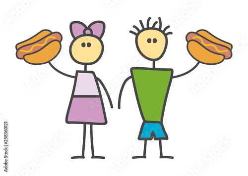 Child style funny doodle cartoon hot dog symbol with boy and girl