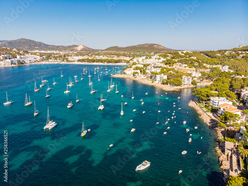 Acrylic Prints Mediterranean Europe Aerial view, view of the bay of Santa Ponsa with sailing yachts, Santa Ponca, Mallorca, Balearic Islands, Spain