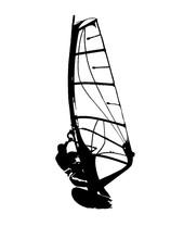 Windsurfing Silhouette Vector Illustration