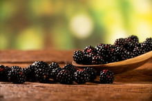 Fresh Blackberries In Wood Bow...