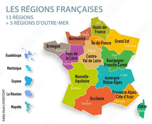 Obraz Les 13 régions Françaises (avec les 5 régions d'Outre-mer) - fototapety do salonu