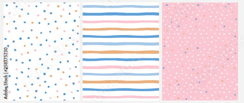 fototapeta na ścianę Cute Pastel Color Geometric Seamless Vector Patterns.Pink, Blue and Yellow Polka Dots and Vertical Stripes on a White Background. Tiny Triangles on a Pink. Lovely Infantile Repeatable Design.