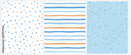 fototapeta na ścianę Cute Pastel Color Geometric Seamless Vector Patterns. Blue and Yellow Polka Dots and Vertical Stripes on a White Background. Tiny Triangles on a Blue Layout. Lovely Infantile Repeatable Design.