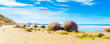 Moeraki Boulders On Koyokokha Beach In The Otago Region, New Zealand. Copy Space For Text.