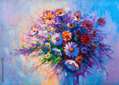 Poster Imagination Oil painting Daisy flowers