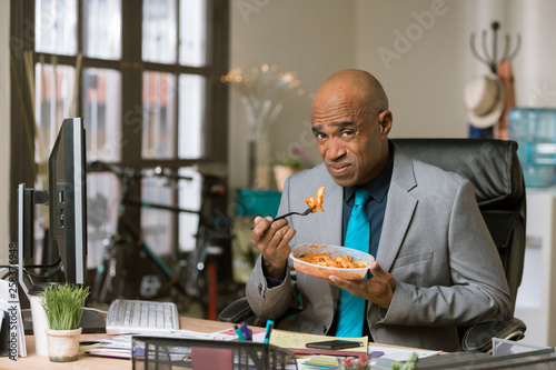 Man Unhappy with His Lunch at Work