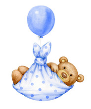 Cute  Baby  Teddy Bear Cartoon With Balloon, Isolated On White.