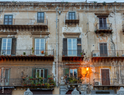 Palermo. The facade of the old house. - Buy this stock photo ...