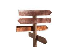 Wooden Direction Sign On A White Background