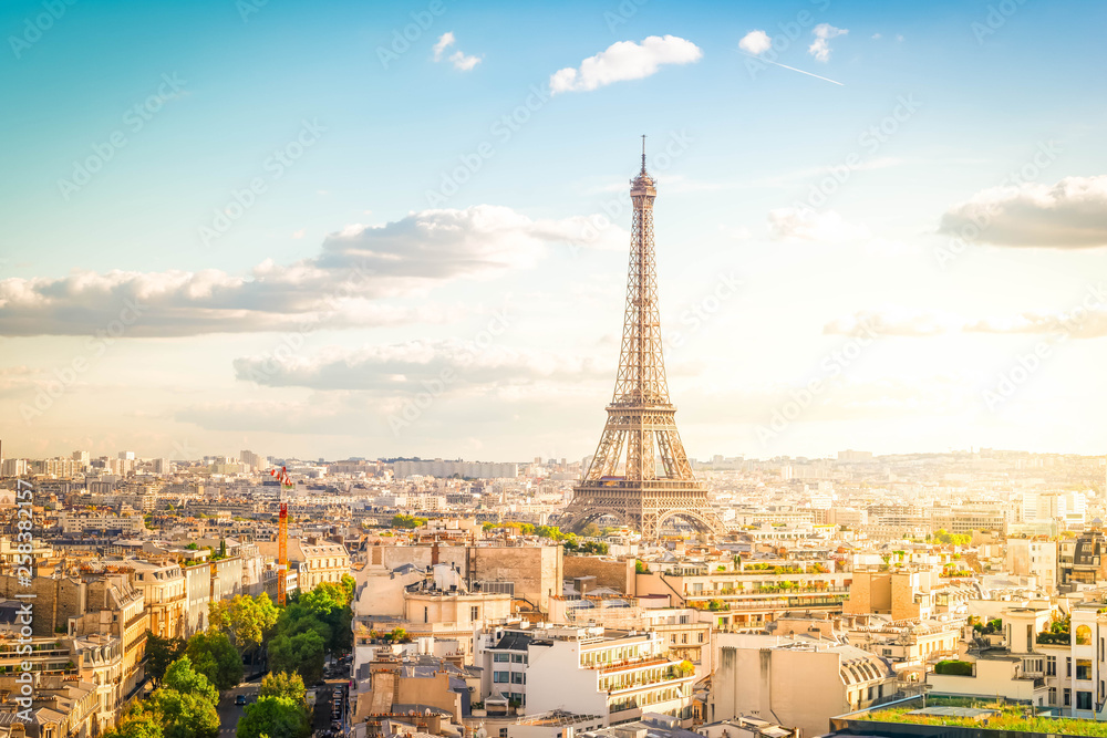 Fototapety, obrazy: eiffel tour and Paris cityscape